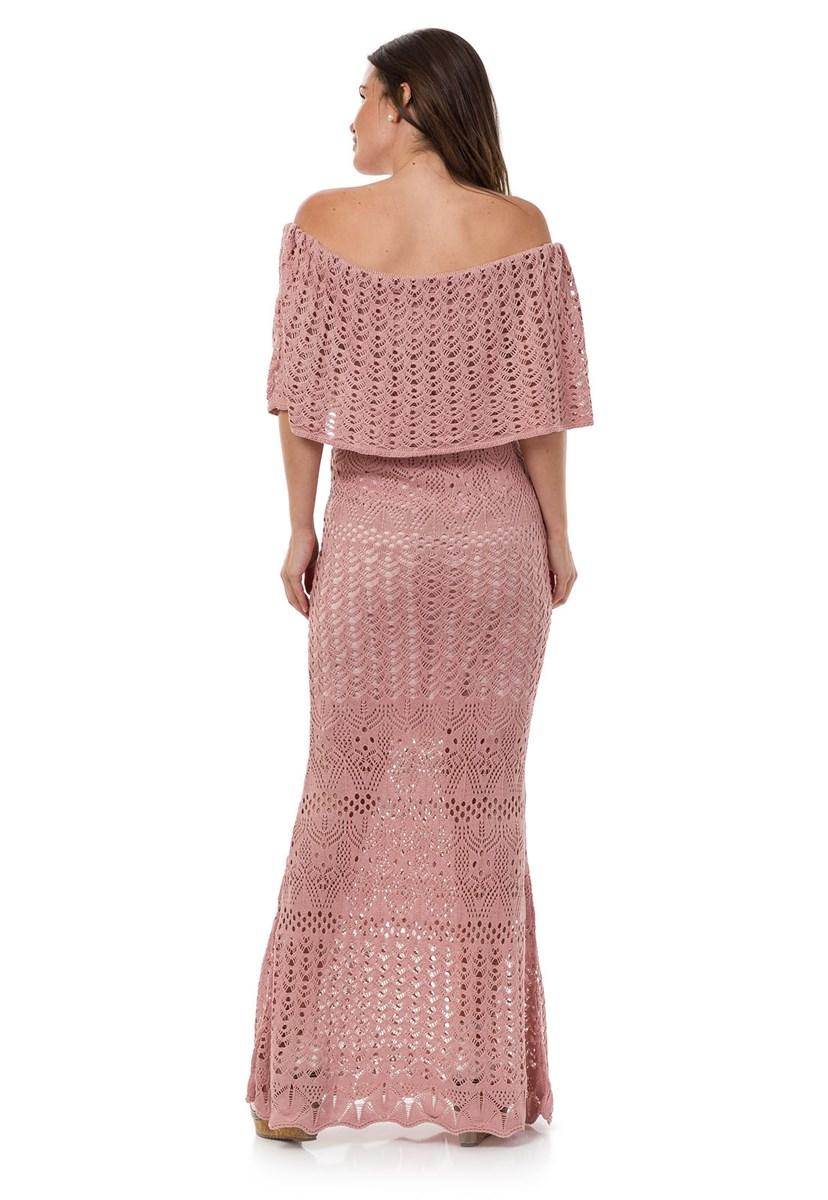 Vestido Pink Tricot Longo Feminino Ombro a Ombro Sereia Rosa Claro