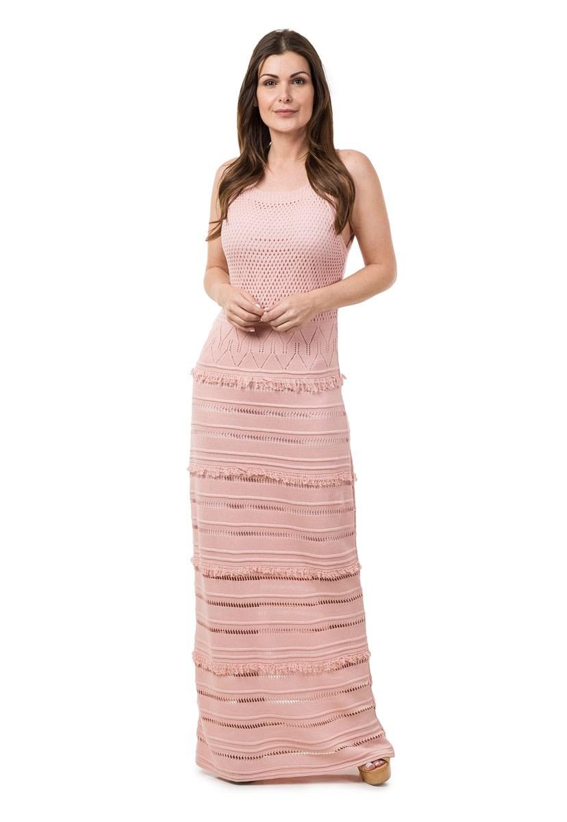 Vestido Pink Tricot Longo Franjas Feminino