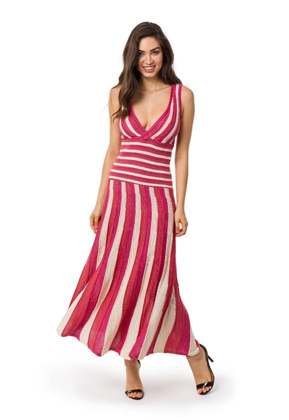 Vestido Pink Tricot Longo Plissado Listrado Feminino