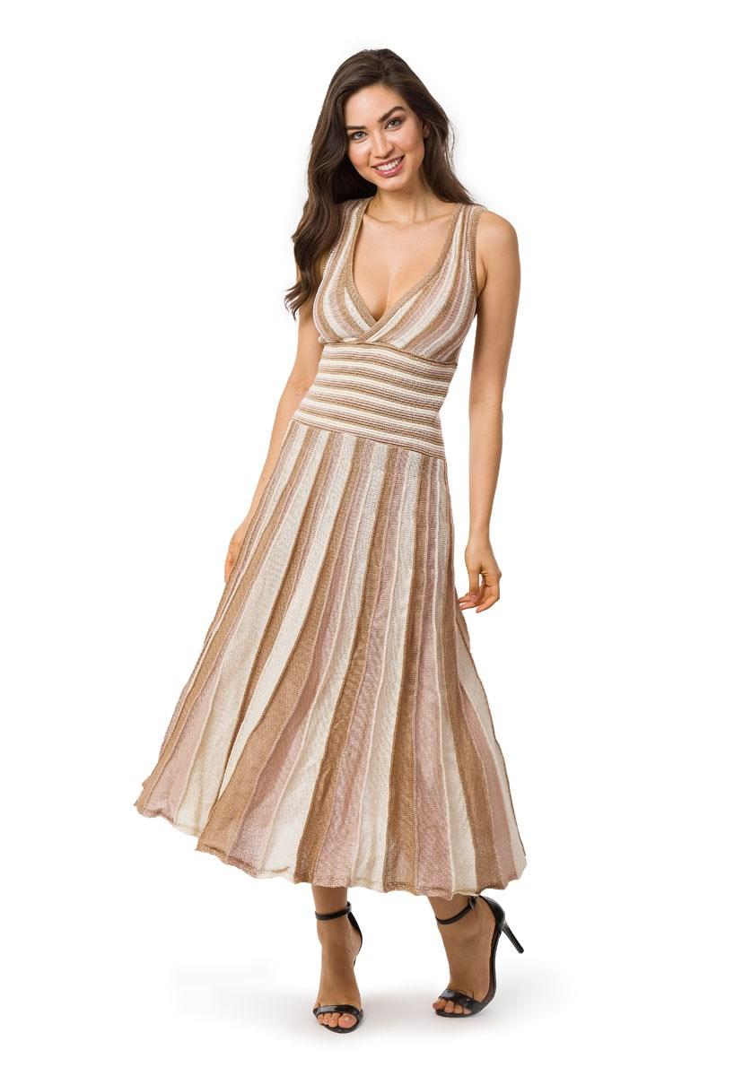 c33def92b4 Vestido Pink Tricot Longo Plissado Listrado Feminino