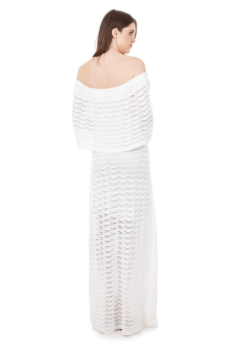 Vestido Pink Tricot Para Festa de Casamento Longo de Tricô Renda Pala Ombro a Ombro Feminino Branco