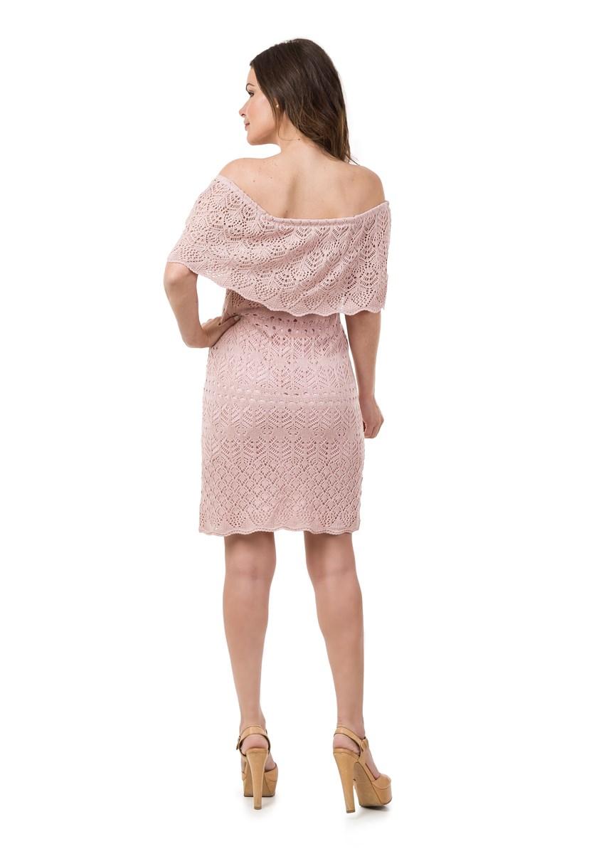 Vestido Pink Tricot(Tricô) Curto Ombro a Ombro Feminino Rosa Claro