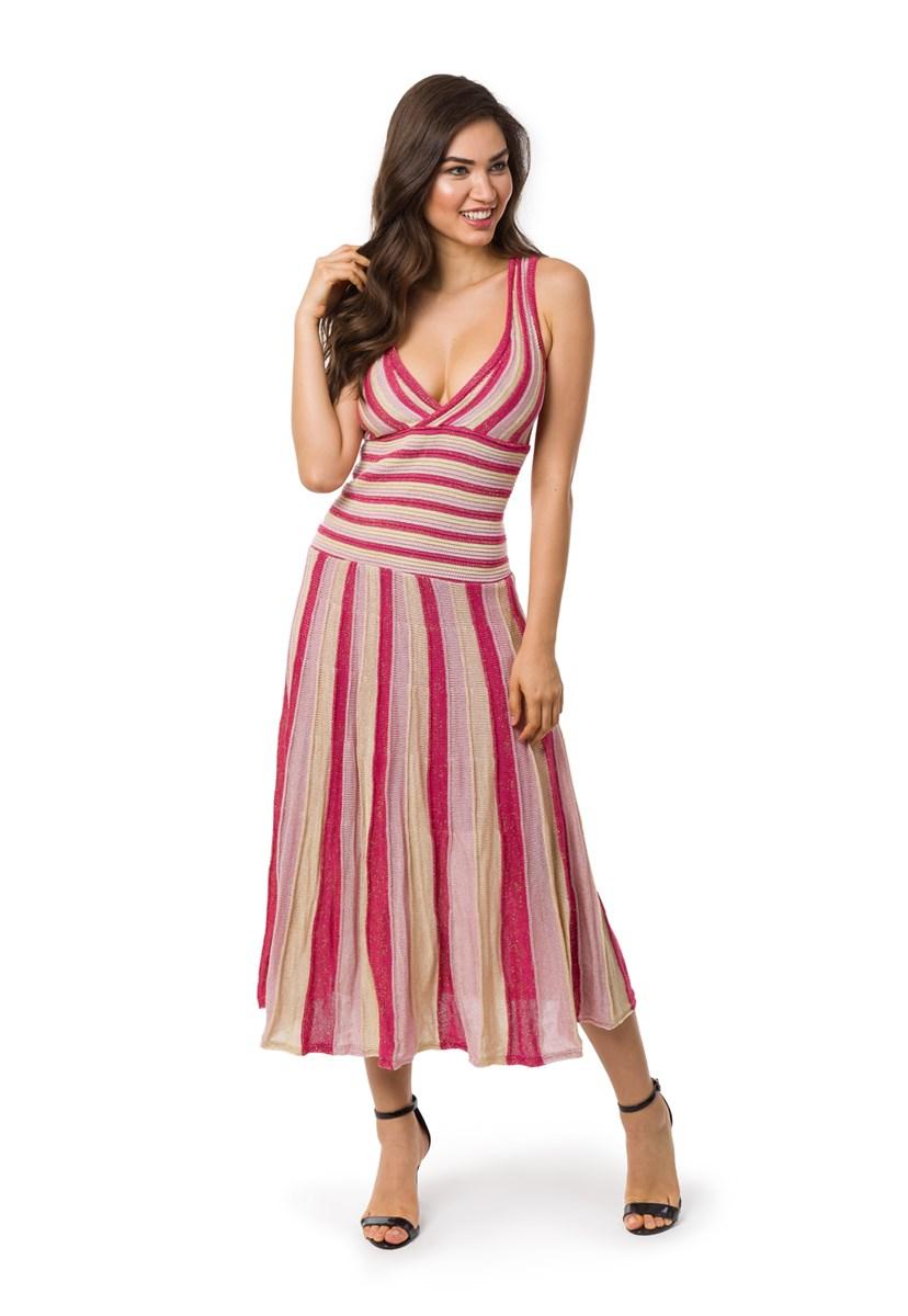 Vestido Pink Tricot (Tricô) Feminino Plissado Listrado Longo Pink