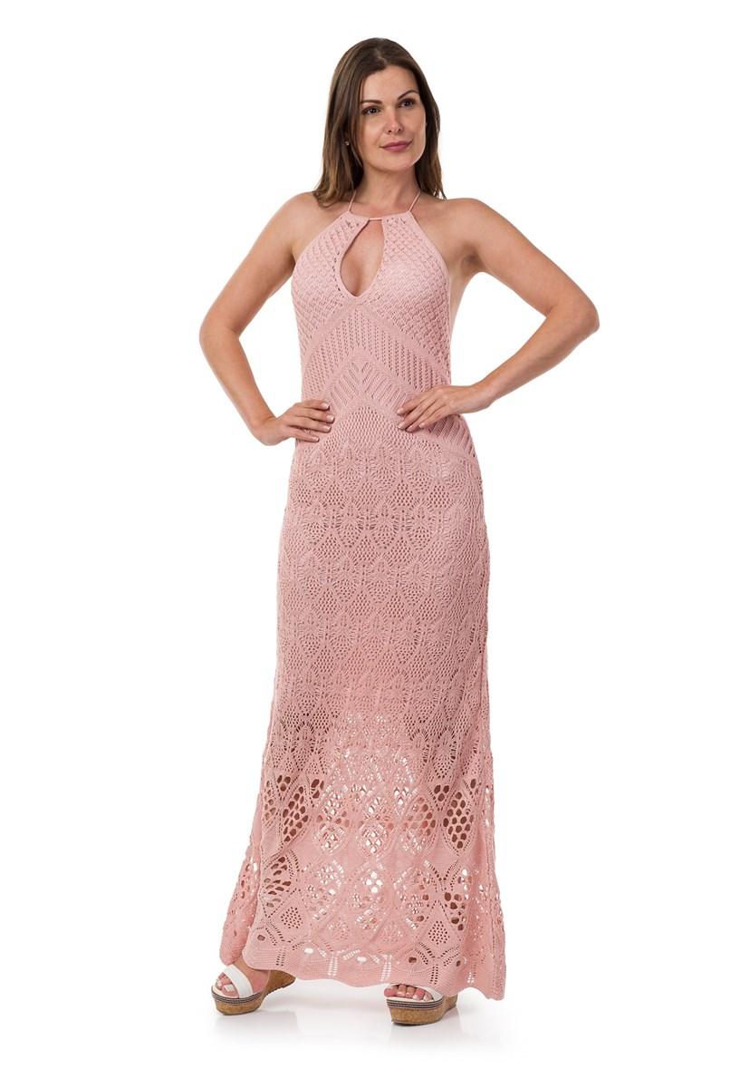 Vestido Pink Tricot(Tricô) Longo Frente Única Feminino Rosa Claro