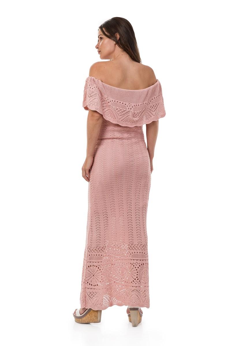Vestido Pink Tricot(Tricô) Longo Ombro a Ombro Feminino Rosa Claro